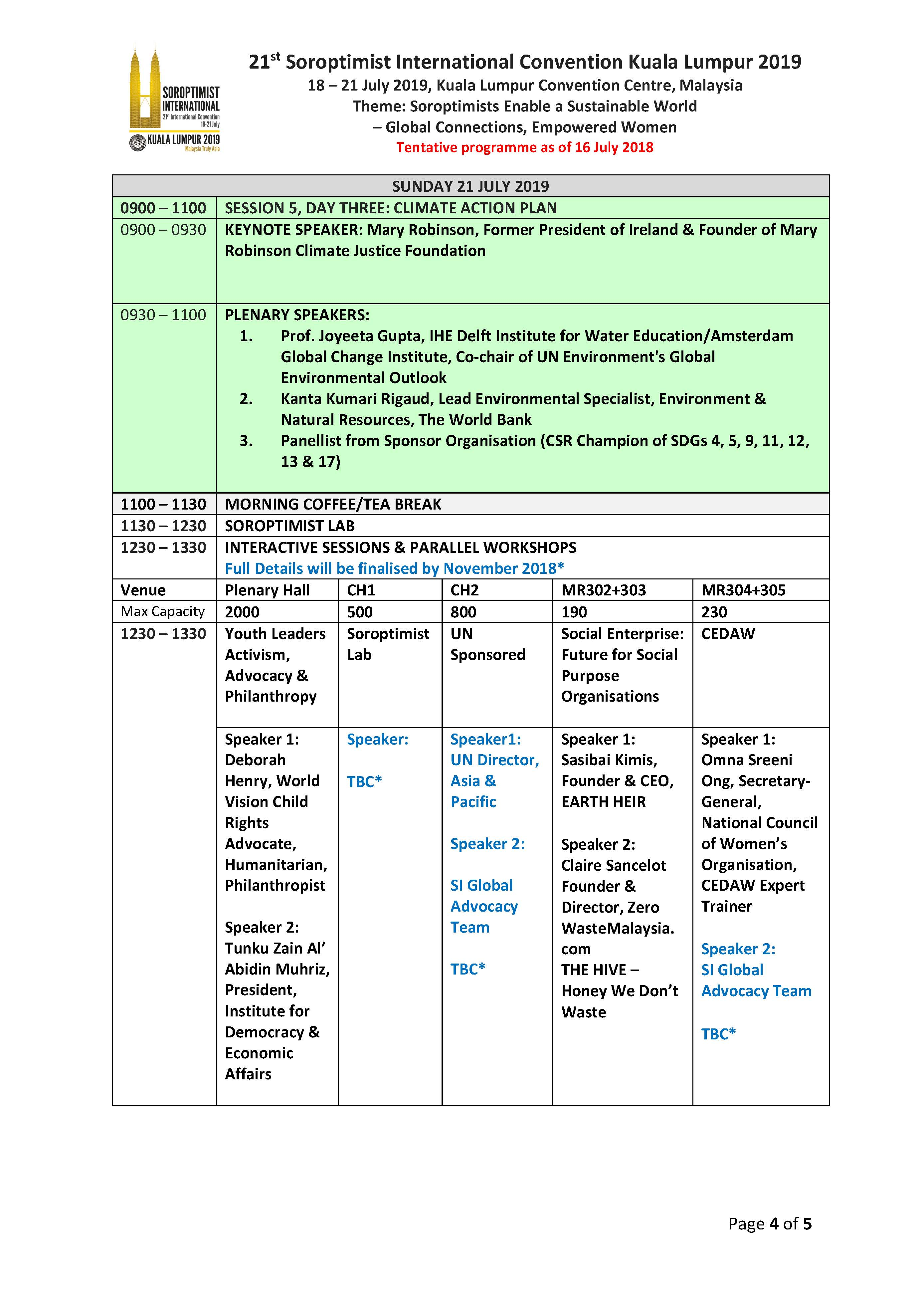 SI Convention 2019 Programme Updated July 2018 Page 4
