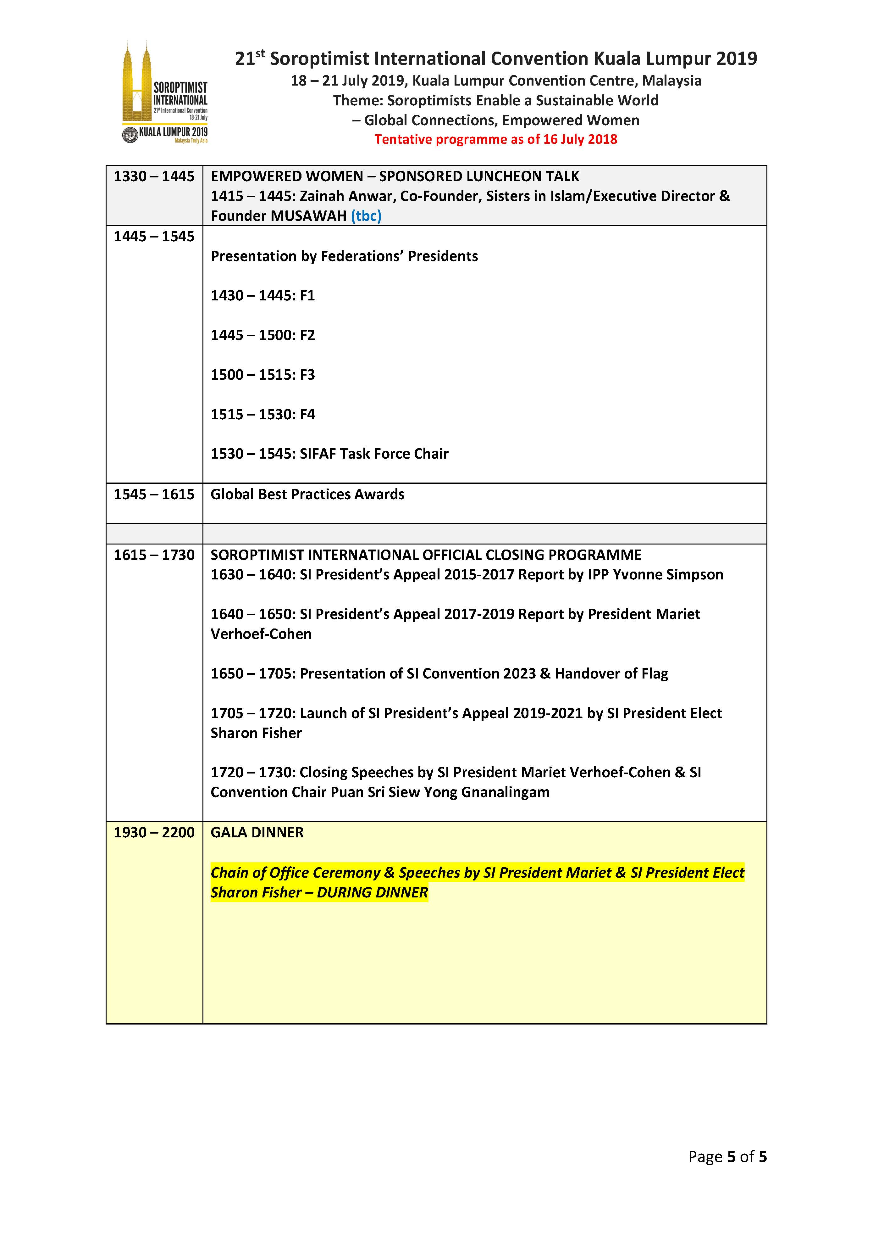 SI Convention 2019 Programme Updated July 2018 Page 5