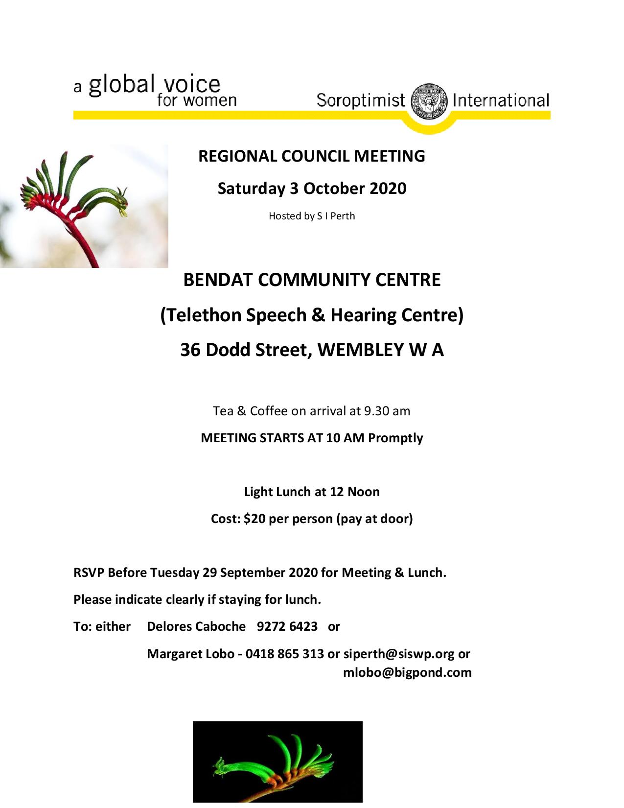 Flyer for Region Meeting 3 October